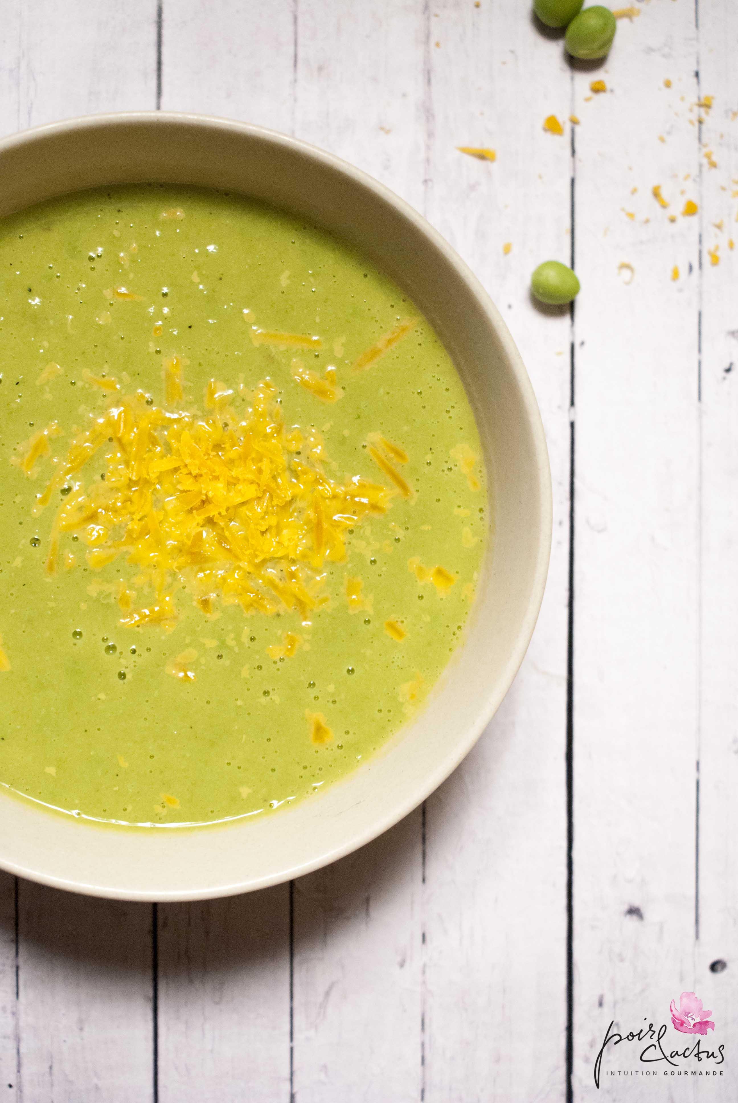 soupe de petits pois mimolette