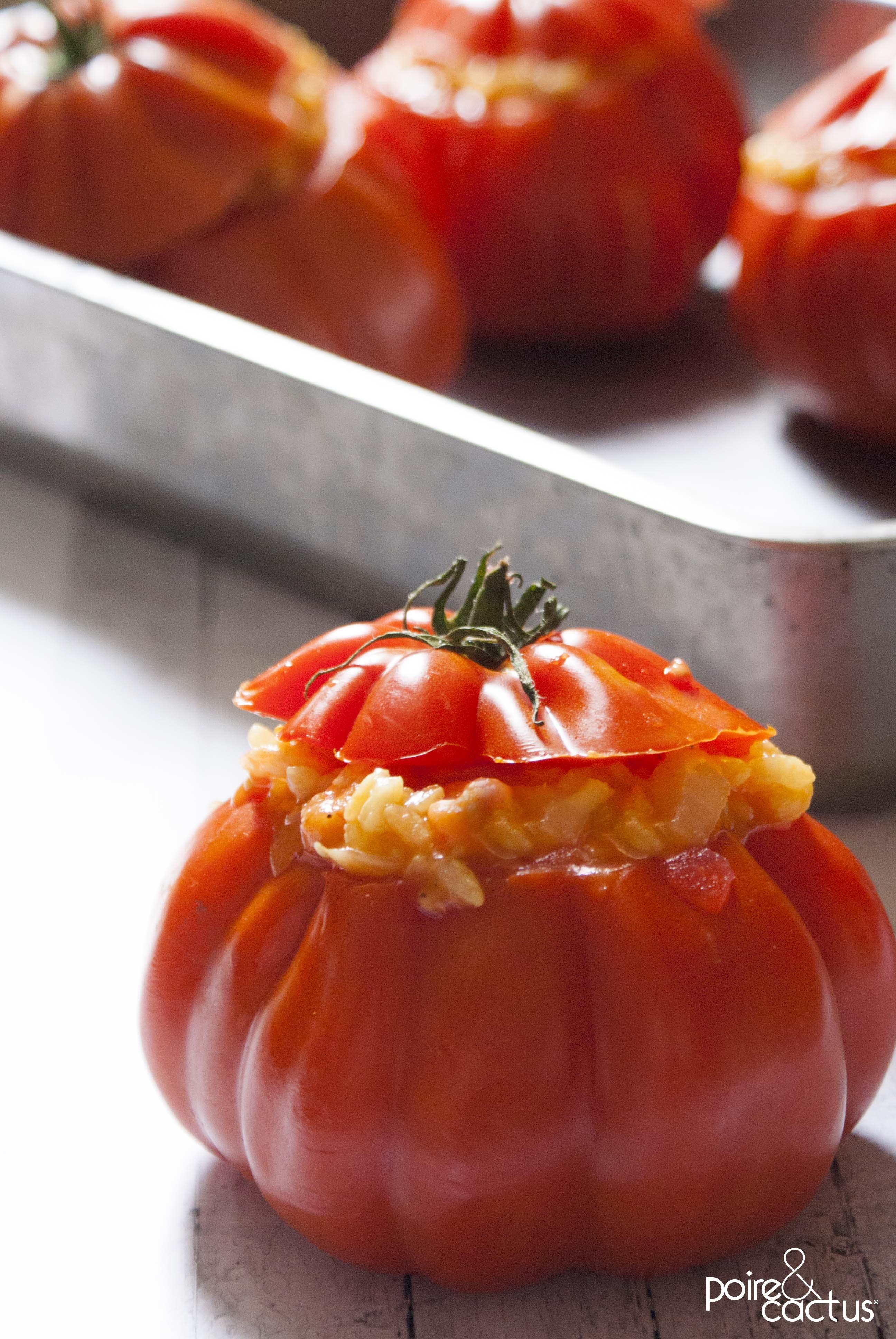 Tomates cœur de bœuf farcies au risotto crevettes